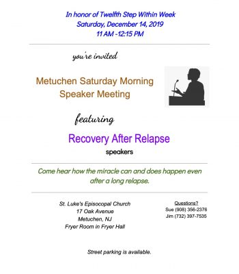 flyer advertising a recovery after relapse meeting on 12/14/19 11 AM